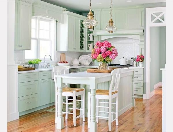 Kuchnia z kroplą mięty  Blog Designbywomen -> Kuchnia W Kolorze Mietowym
