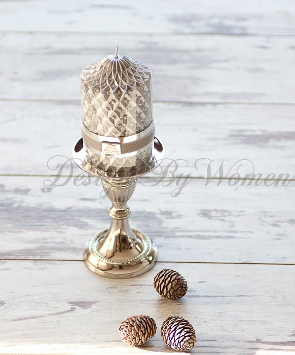 Świeca Dekoracyjna Lene Bjerre -srebrna