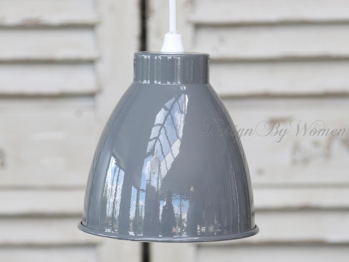 Lampa emaliowana szara mała