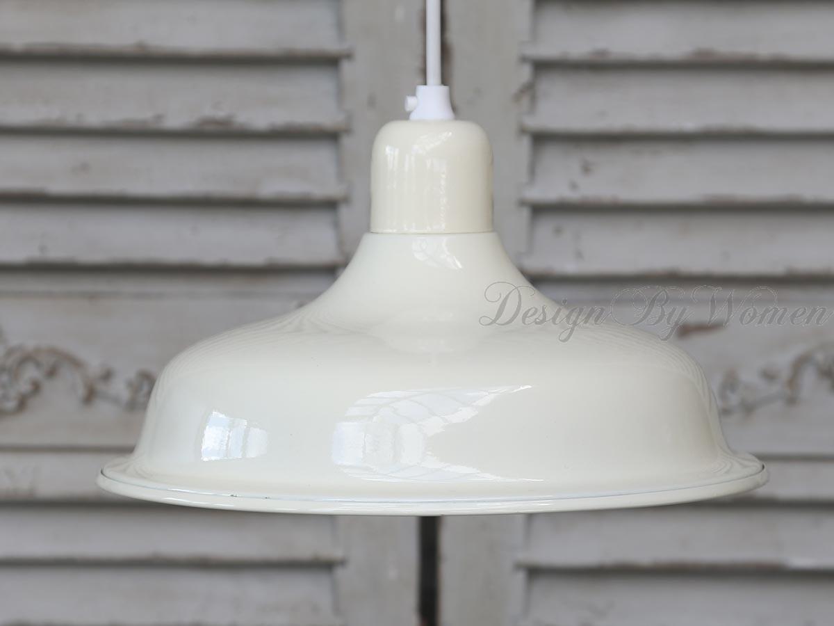 Lampa sufitowa emaliowana kremowa